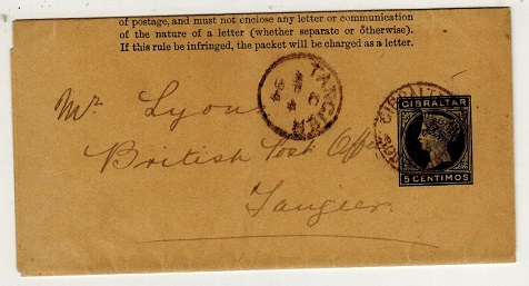 GIBRALTAR - 1889 5c green postal stationery wrapper to Tangier used at SOUTH DISTRICT.  H&G 6.