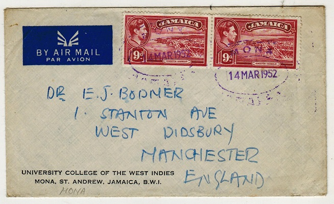 JAMAICA - 1952 1/6d rate cover to UK used at MONA.
