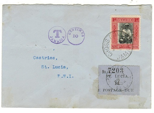 JAMAICA - 1932 underpaid cover to St.Lucia with 1d