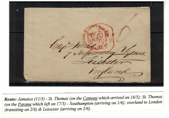 JAMAICA - 1857 stampless cover to UK rated