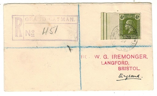 CAYMAN ISLANDS - 1927 4 1/2d rate registered cover to UK used at GEORGETOWN.