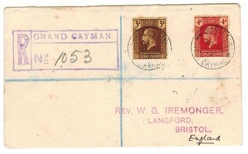 CAYMAN ISLANDS - 1922 7d rate registered cover to UK used at GEORGETOWN.
