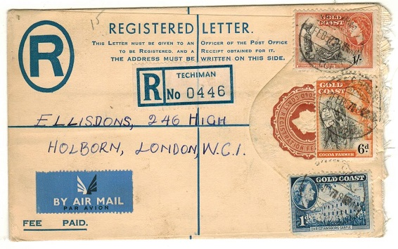 GOLD COAST - 1953 4d brown RPSE uprated to UK used at TECHIMAN.  H&G 13.