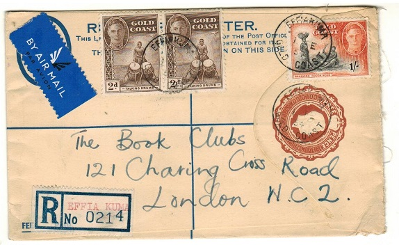 GOLD COAST - 1938 3d brown RPSE uprated to UK used at EFFIA KUMA.  H&G 12b.