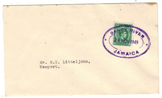 JAMAICA - 1949 1/2d rate local cover cancelled by SANDY RIVER