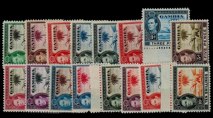 GAMBIA - 1938 series of 16 U/M.  SG 150-61.
