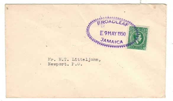 JAMAICA - 1950 1/2d local rate cover cancelled by BROADLEAF