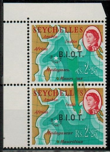B.I.O.T. - 1968 Rs2.50 U/M pair with MISSING STOP AFTER O.  SG 12b.