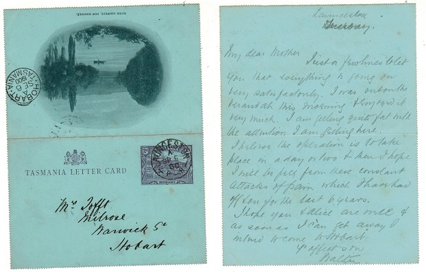 AUSTRALIA (Tasmania ) - 1900 2d violet illustrated letter card used at LAUNCESTON. H&G2(6).