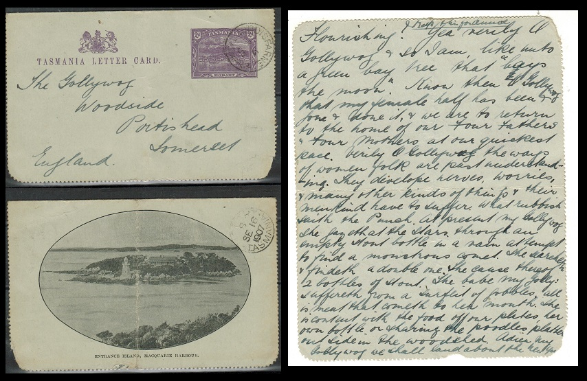AUSTRALIA (Tasmania) - 1900 2d violet illustrated letter card used at LINDISFARNE. H&G 2(1).