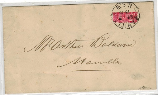 AUSTRALIA (New South Wales) - 1898 1d scarlet BI-SECTED cover used at MANILLA/NSW.
