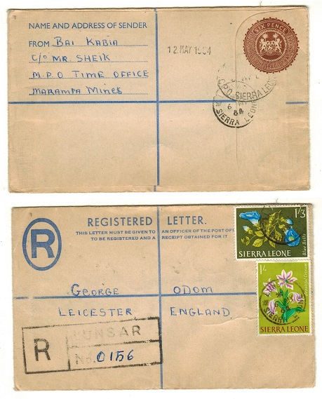 SIERRA LEONE - 1960 (circa) 6d brown RPSE uprated to UK used at LUNSAR.
