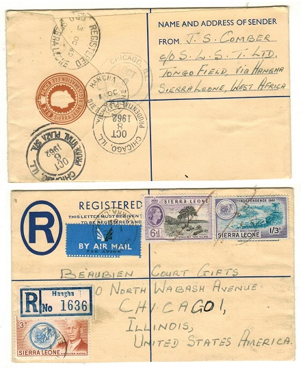 SIERRA LEONE - 1958 6d brown RPSE uprated to USA at HANGHA.  H&G 7.
