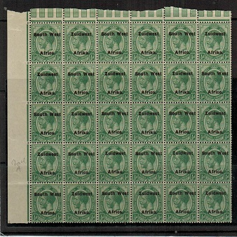 SOUTH WEST AFRICA - 1925 1/2d green U/M block of 30 with SMALL A variety.  SG 29.