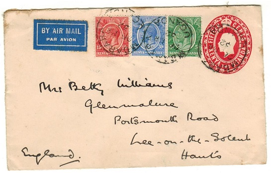 K.U.T. - 1924 15c red PSE (size a) addressed to UK uprated at MBARARA.  H&G 4.
