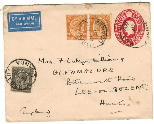 K.U.T. - 1924 15c red PSE (size b) addressed to UK uprated at MBARARA.  H&G 4a..