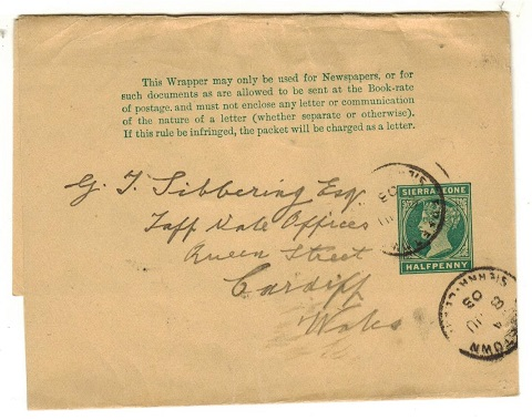 SIERRA LEONE - 1898 1/2d green postal stationery wrapper to UK used at FREETOWN.  H&G 1.