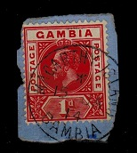 GAMBIA - 1912 1d red cancelled by MACARTHY ISLAND/GAMBIA cds.