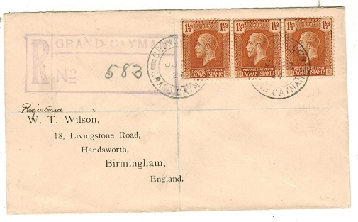 CAYMAN ISLANDS - 1924 4 1/2d rate registered cover to UK used at GEORGETOWN.