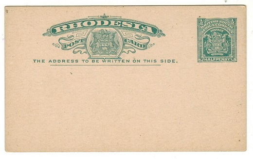 RHODESIA - 1903 1/2d green PSC unused.  H&G 13.