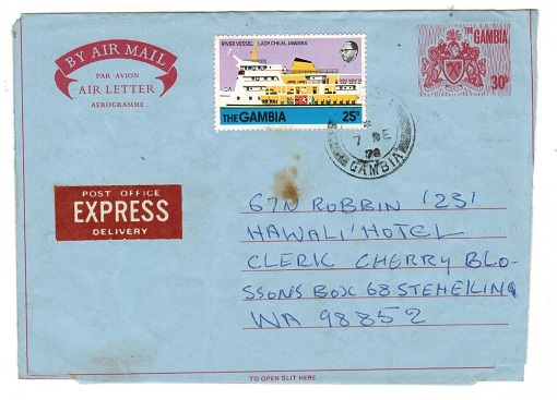 GAMBIA - 1978 use of 30b red air letter uprated to USA.