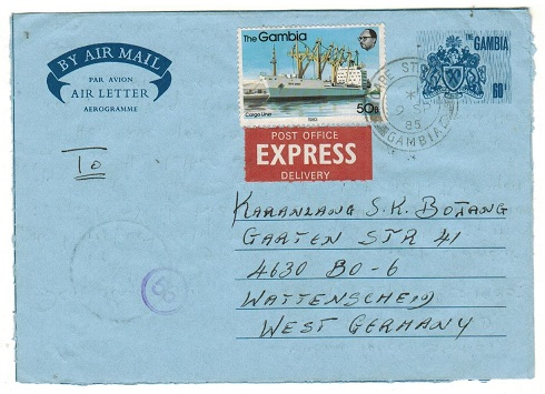 GAMBIA - 1985 use of 60b blue air letter uprated to Germany.