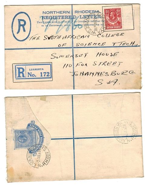 NORTHERN RHODESIA - 1924 4d ultramarine uprated RPSE to South Africa used at LUANSHYA.  H&G 1.
