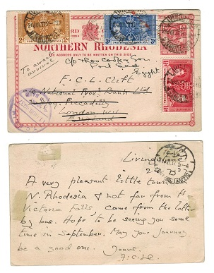 NORTHERN RHODESIA - 1924 1 1/2d carmine rose PSC uprated to Egypt.  H&G 2.