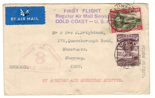 GOLD COAST - 1947 5/6d rate first flight