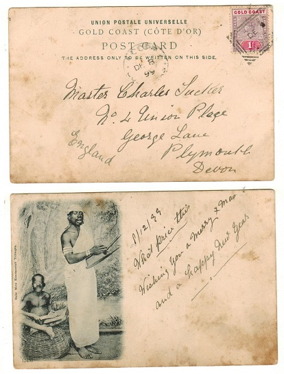 GOLD COAST - 1899 1d rate postcard use to UK struck by scarce ACCRA boxed cancel.