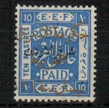 TRANSJORDAN - 1923 10p ultramarine with gold overprint in fine mint condition.  SG 67.