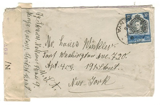 K.U.T. - 1945 30c rate censored cover to USA used at NAKURU.