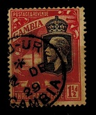 GAMBIA - 1929 1 1/2d (SG 125) cancelled by part KAU-UR/GAMBIA cds.
