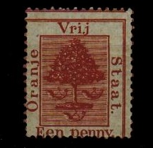 ORANGE FREE STATE - 1868 1d deep brown mint with MISPLACED PRINTING.  SG 3.