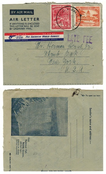 BRITISH GUIANA - 1952 FORMULA illustrated air letter to USA with LATE FEE handstamp.