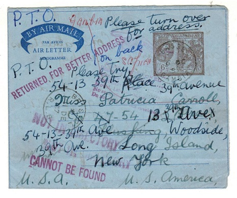 GAMBIA - 1958 6d dark violet brown air letter to USA used at BASSE but returned.  H&G 7.