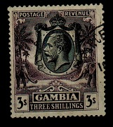 GAMBIA - 1928 3/- slate purple fine used with part PARCEL POST cds.  SG 139.