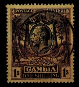 GAMBIA - 1929 1/- blackish purple on yellow-buff shade fine used.  SG 134a.