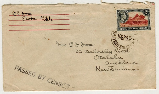 SOLOMON ISLANDS - 1945 2d rate cover to New Zealand struck PASSED BY CENSOR 2.