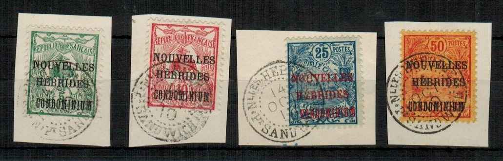 NEW HEBRIDES - 1910 5c,10c, 25c and 50c (SG F6-9) on piece tied NELLES HEBRIDES/PT.SANDWICH.