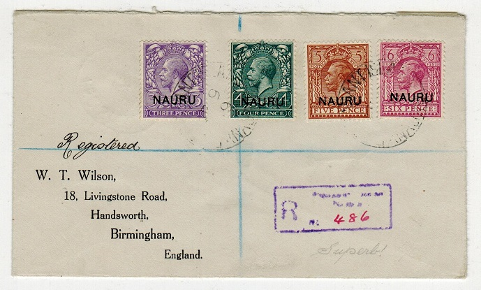 NAURU - 1919 multi franked registered cover to UK used at PLEASANT ISLAND/NAURU.