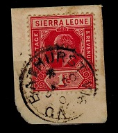 GAMBIA - 1907 Sierra Leone 1d red tied by BATHURST/GAMBIA cds.