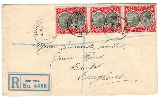 DOMINICA - 1929 4 1/2d rate registered cover to UK.