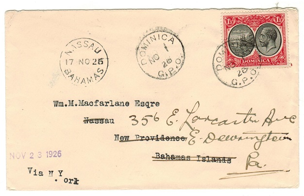 DOMINICA - 1928 1 1/2d rate cover to Bahamas re-directed onwards to USA.