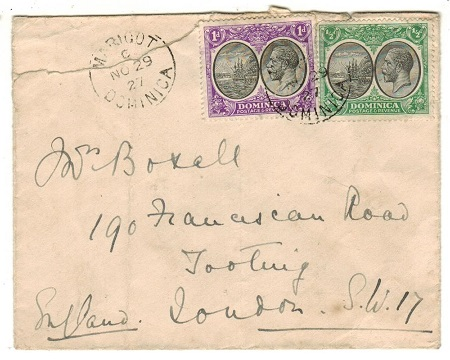 DOMINICA - 1927 1 1/2d rate cover to UK (opening fault) used at MARIGOT.