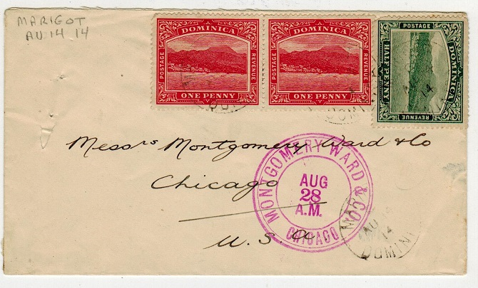 DOMINICA - 1914 2 1/2d rate cover to USA used at MARIGOT.