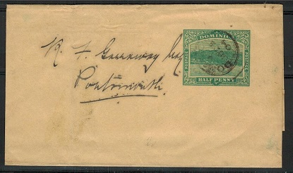 DOMINICA - 1903 1/2d green postal stationery wrapper used locally. H&G 1.