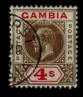GAMBIA - 1922 4/- black and red fine used.  SG 117.