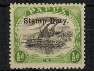 PAPUA - 1907 1/2d black and yellow green mint overprinted STAMP DUTY.