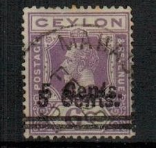 CEYLON - 1926 5c on 6c bright violet used with SURCHARGE DOUBLE.  SG 362.
